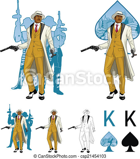 King of spades afroamerican mafioso godfather with crew silhouettes Mafia card set - csp21454103