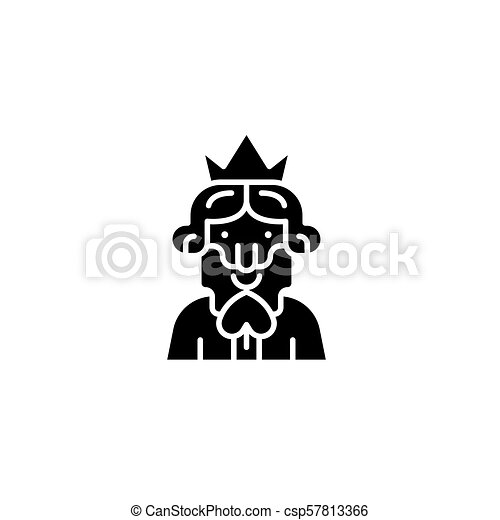 King of spades black icon concept. King of spades flat  vector symbol, sign, illustration. - csp57813366