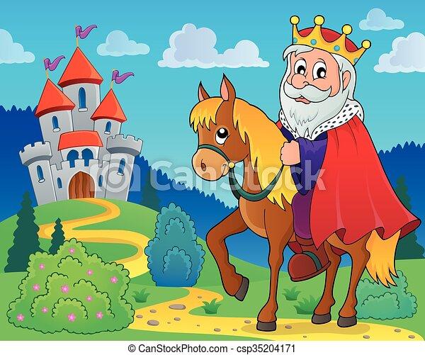 King on horse theme image  - csp35204171