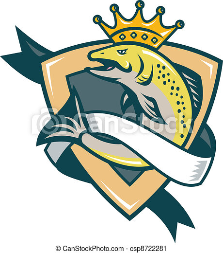 king salmon fish jumping shield illustration of a king vector rh canstockphoto com Nautical Clip Art Dr. Seuss Red Fish Blue Fish Clip Art