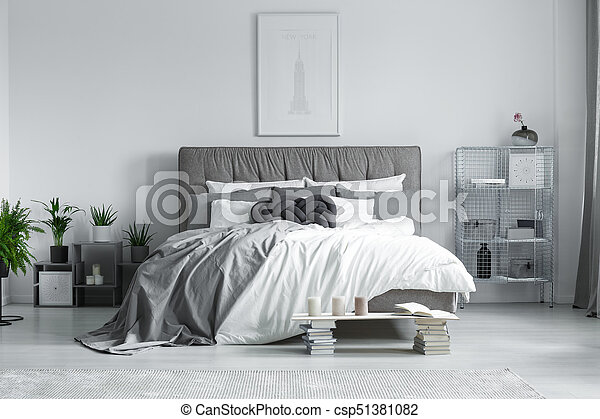 King-size, lit, chambre à coucher. King-size, confortable, moderne ...