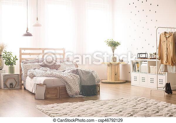 king-size, lit, chambre à coucher