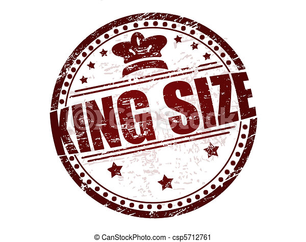 King Size Stamp Grunge Rubber With Stars Crown And The Text