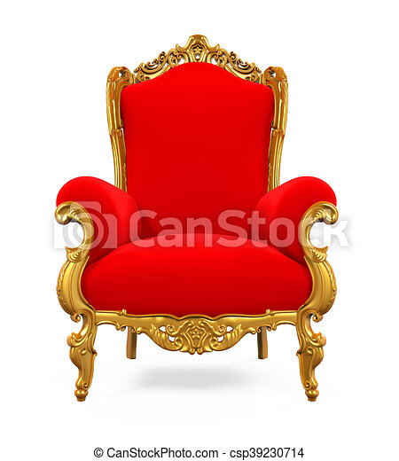 King throne chair isolated on white background 3d render for Chaise 3d dessin