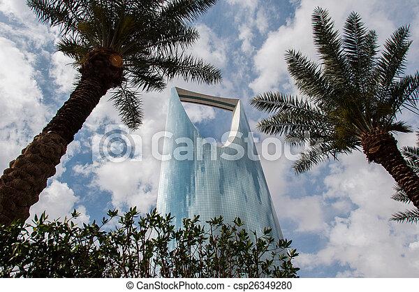 Kingdom Tower in center of Riyadh, Saudi Arabia - csp26349280