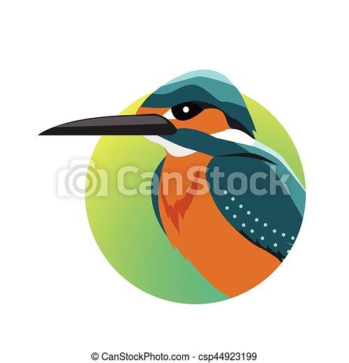 Kingfisher Flat Design Vector Illustration - csp44923199