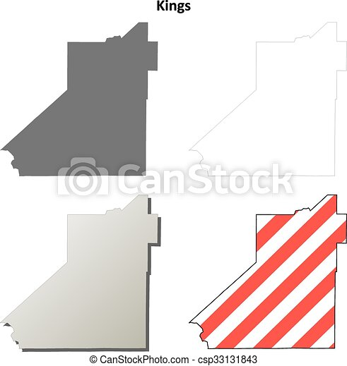 Kings County California Outline Map Set