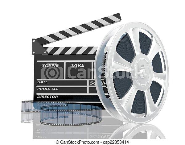 kino, ilustracja, ekranizować cewkę, klepać, 3d - csp22353414