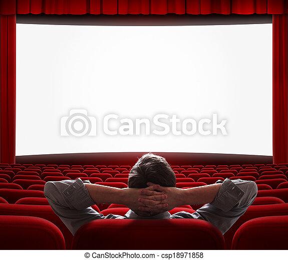 kino, jeden, sam, hala, opróżniać, człowiek - csp18971858