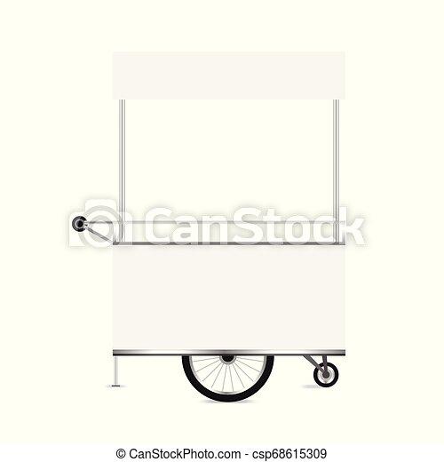 kiosk white, template blank of kiosk wheels cart stock clip art for design,  kiosk empty for design of market and exterior symbol, set of market food