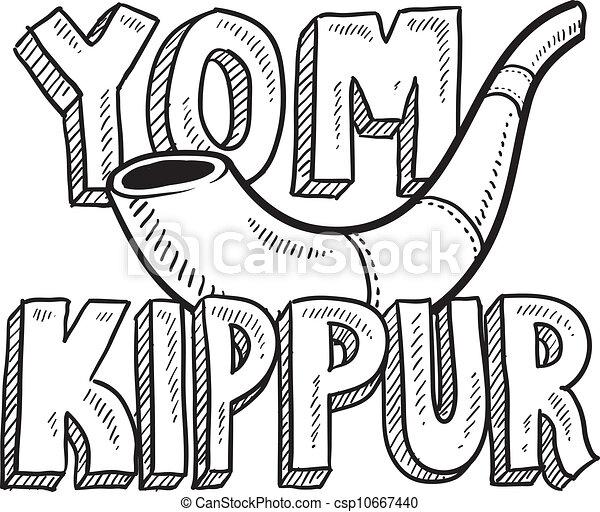 Yom kippur esbozo festivo judío - csp10667440