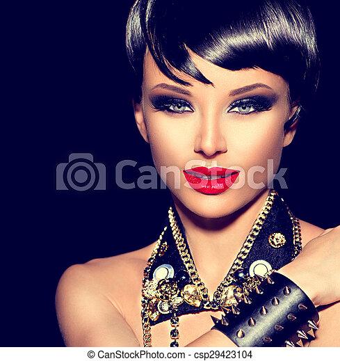 kipstang, stijl, mode, beauty, punker, girl., brunette, model - csp29423104
