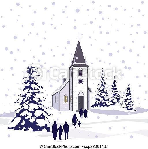 kirche, winter- szene - csp22081487