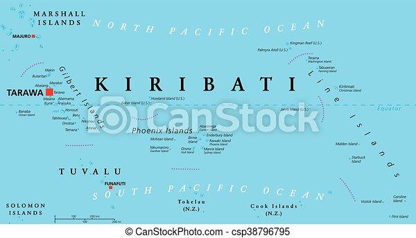 Kiribati political map with capital tarawa republic and eps