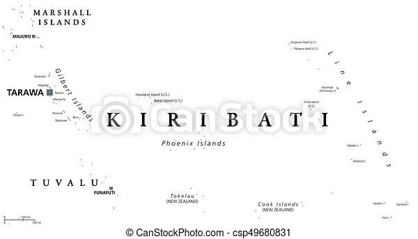 Kiribati political map with capital tarawa english vectors
