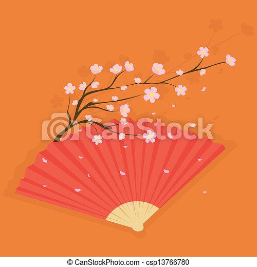 Fan mit Kirschblüten - csp13766780