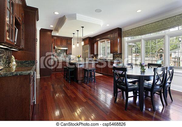 Küche mit Kirschholzschrank - csp5468826