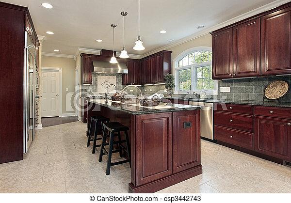 Küche mit Kirschholzschrank - csp3442743