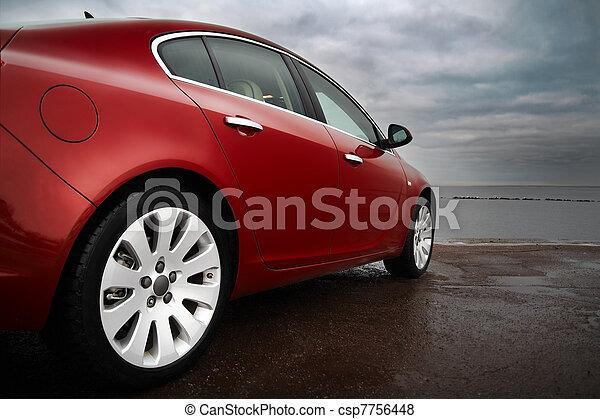 kirschen, luxus, rotes auto - csp7756448