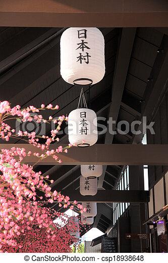 kirschen, sakura., lampe, blüten, weißes, oder