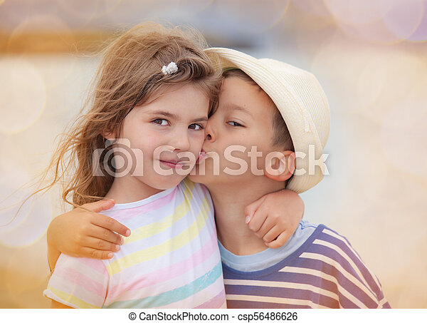Kiss Boy Girl Kids Brother Sister Young Boy Around Six Is Kissing