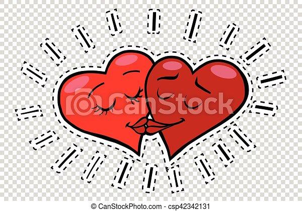 Kiss Hearts Valentines Pop Art Retro Comic Book Illustration