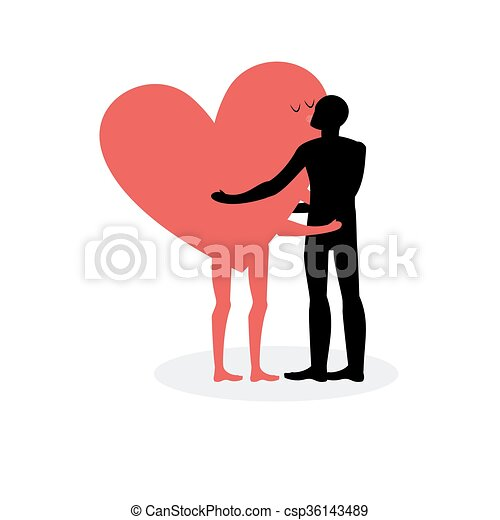 kiss of lovers man hugs heart hot kiss on a date in love rh canstockphoto com