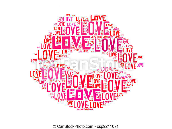 Kiss Symbol For Love Text Graphics And Arrangement Concept On White