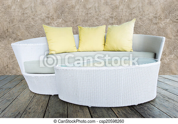 Kissen Sofa Gelber Stock Riesengraswebart Stuhl Möbel