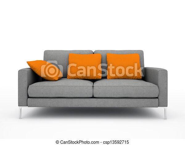 kissen sofa modern freigestellt abbildung grau hintergrund orange wei es. Black Bedroom Furniture Sets. Home Design Ideas