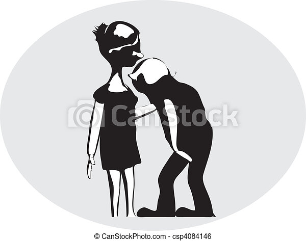 Kissing girl's hand. A vector black and white illustration ...