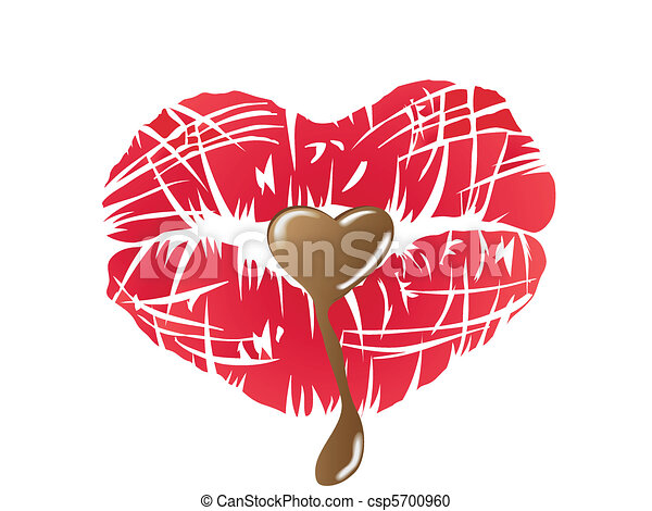 kissing lips with chocolate - csp5700960