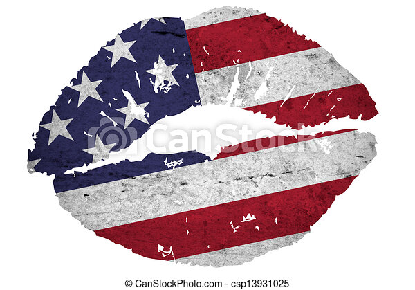 Illustration Of A Close View Kiss With Vintage American Flag Texture Isolated Against White Background