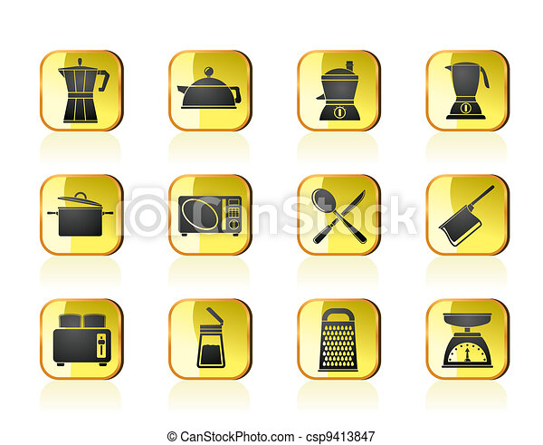 kitchen and household icons - csp9413847