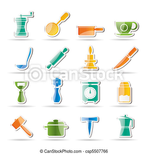 Kitchen and household tools icons  - csp5507766