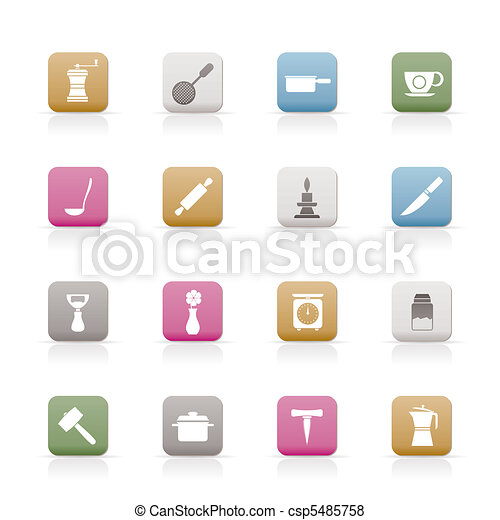 Kitchen and household tools icons  - csp5485758