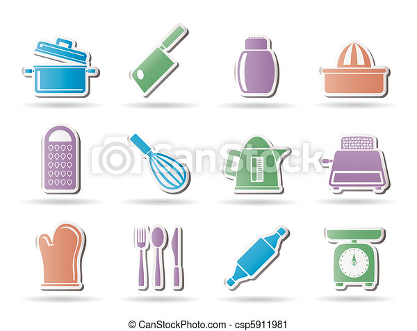 Kitchen and household Utensil Icons - csp5911981