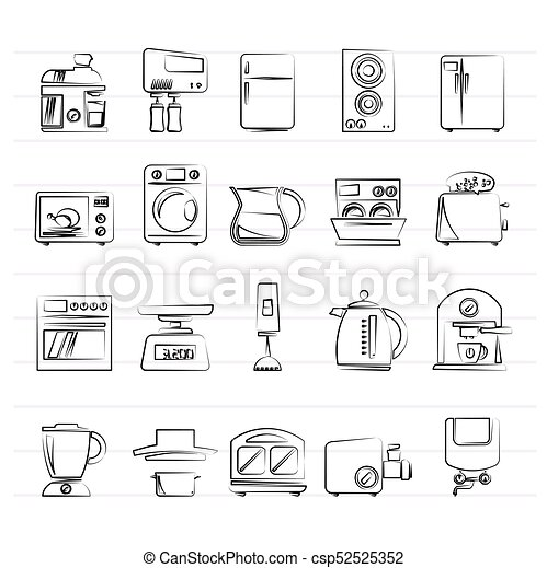 kitchen appliances and kitchenware icons - csp52525352