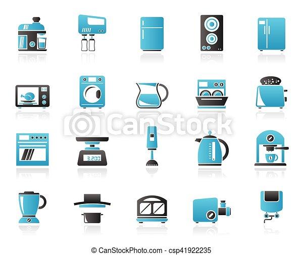 kitchen appliances and kitchenware icons - csp41922235