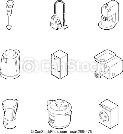 Kitchen Appliances Icons Set Outline Style Kitchen Appliances