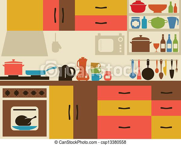 kitchen ware on kitchen a vector illustration rh canstockphoto com clip art kitchen design clip art kitchen items