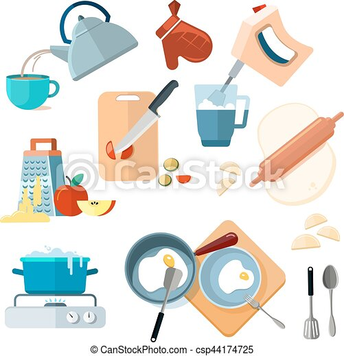 Kitchen cooking processes, grated vegetables, mixer, fried, dough, boil, grinding - csp44174725