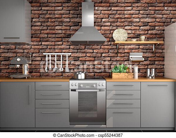 3d kitchen design easy kitchen design in loft style 3d illustration design in loft style illustration