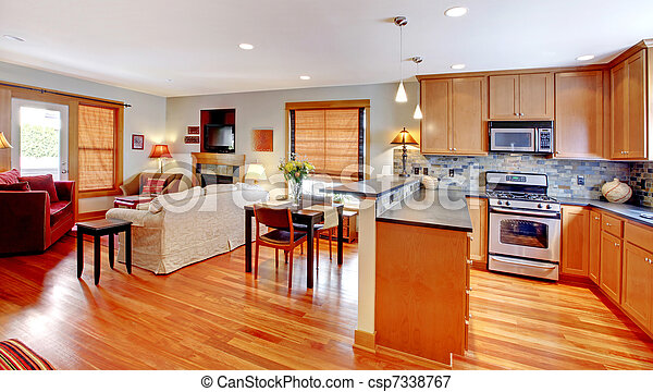 Kitchen Dining And Living Room Of The City Home