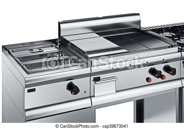 Kitchen equipment chrome, close view