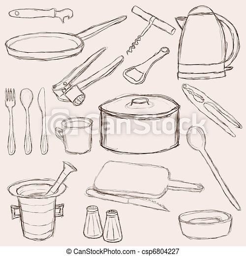 Big Set Of Doodle Kitchen Equipment