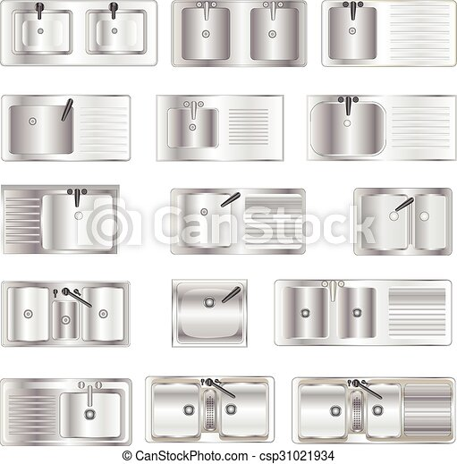 Kitchen Equipment Sinks Top View Set 1 For Interior Vector