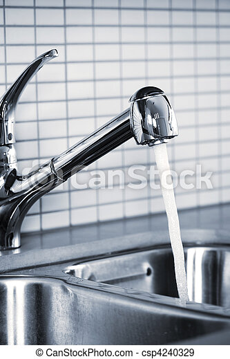 Kitchen Faucet Stainless Steel Kitchen Faucet And Sink With Running Water Canstock
