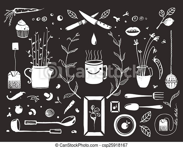 kitchen food and drinking tea cosy design elements on black eat and