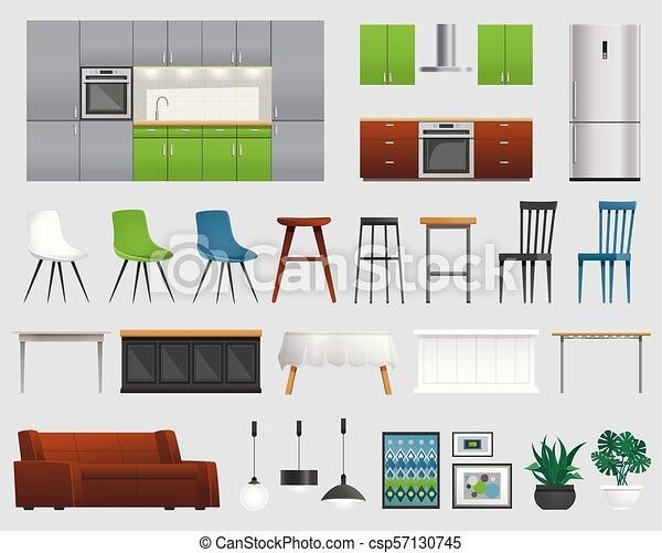 Kitchen Furniture Accessories Flat Set Modern Kitchen And Living